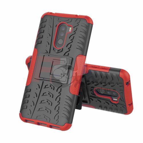 Чехол для Xiaomi Pocophone F1 из ТПУ-резины и пластика противоударный красный