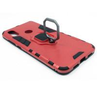 Гибридный бампер Xiaomi Mi 8 из ТПУ и пластика с кольцом-подставкой красный