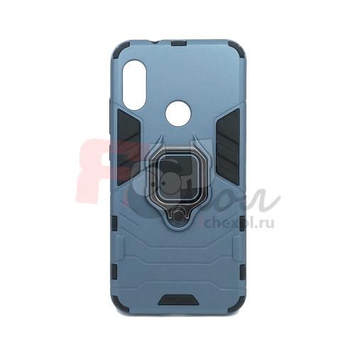 Гибридный бампер Xiaomi Redmi 6 Pro / Mi A2 lite из ТПУ и пластика с кольцом-подставкой синий