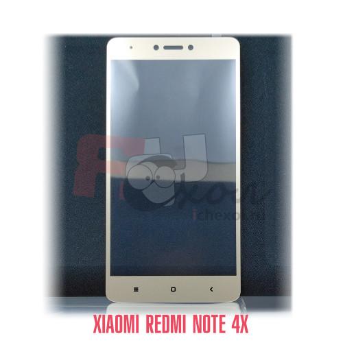 Полноразмерное 3D-стекло для Xiaomi Redmi Note 4X цвет рамки - золото, световой индикатор слева.