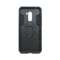 Гибридный бампер Xiaomi Pocophone F1 из ТПУ и пластика с кольцом-подставкой черный