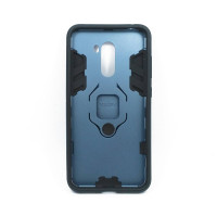 Гибридный бампер Xiaomi Pocophone F1 из ТПУ и пластика с кольцом-подставкой синий