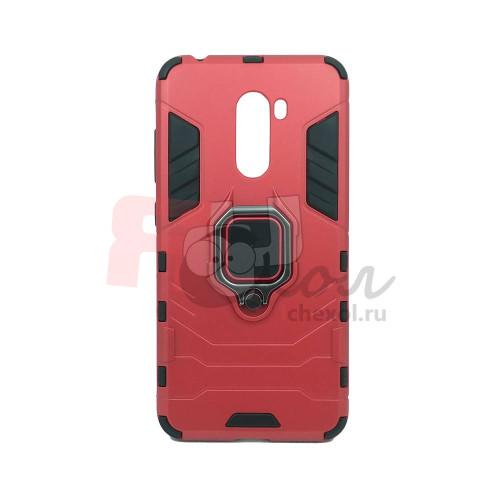 Гибридный бампер Xiaomi Pocophone F1 из ТПУ и пластика с кольцом-подставкой красный
