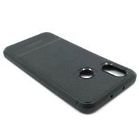 """Чехол для Xiaomi Mi 8 из ТПУ-резины """"под кожу"""" черный"""