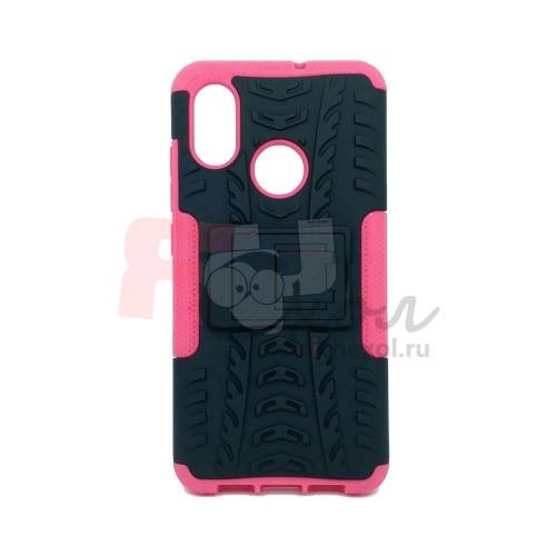 Чехол для Xiaomi Mi 8 из ТПУ-резины и пластика противоударный розовый