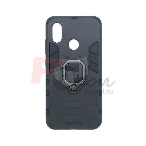 Гибридный бампер Xiaomi Mi 8 из ТПУ и пластика с кольцом-подставкой черный