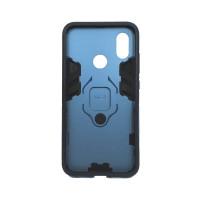 Гибридный бампер Xiaomi Mi 8 из ТПУ и пластика с кольцом-подставкой синий