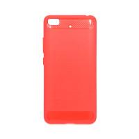 """Чехол для Xiaomi Mi 5S из ТПУ-резины """"под карбон"""" красно-розовый"""