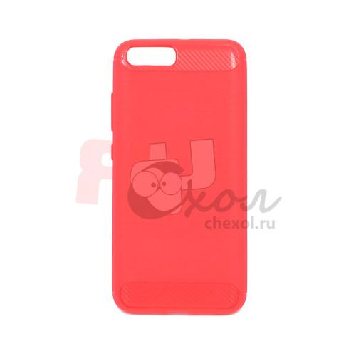 """Чехол для Xiaomi Mi 6 из ТПУ-резины """"под карбон"""" красно-розовый"""