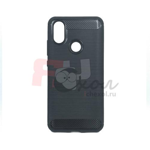 """Чехол для Xiaomi Mi 6X / A2 из ТПУ-резины """"под карбон"""" черный"""