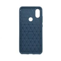 """Чехол для Xiaomi Mi 6X / A2 из ТПУ-резины """"под карбон"""" navy-blue"""
