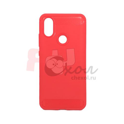 """Чехол для Xiaomi Mi 6X / A2 из ТПУ-резины """"под карбон"""" красный"""