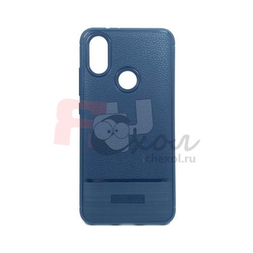 """Чехол для Xiaomi Mi 6X / A2 из ТПУ-резины """"под кожу"""" navy-blue"""