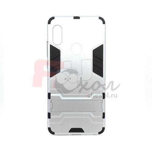 Гибридный бампер Xiaomi Redmi Note 5  (5,99'') из ТПУ и пластика с подставкой серебро