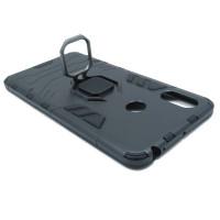 Гибридный бамперXiaomi Mi Max 3  (6,99'') из ТПУ и пластика с кольцом-подставкой черный