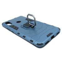 Гибридный бамперXiaomi Mi Max 3  (6,99'') из ТПУ и пластика с кольцом-подставкой синий