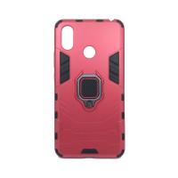 Гибридный бамперXiaomi Mi Max 3  (6,99'') из ТПУ и пластика с кольцом-подставкой красный
