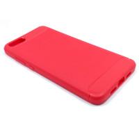 Чехол для Xiaomi Mi Note 3 из ТПУ стилизованный под карбон красный