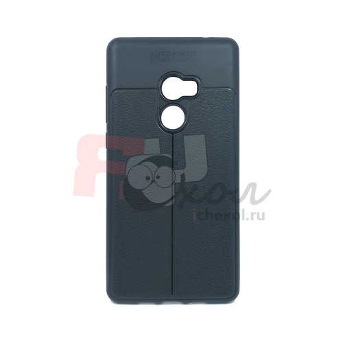 """Чехол для Xiaomi Mi Mix 2  из ТПУ с текстурой """"под кожу"""" черный"""