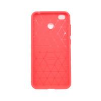 Чехол для Xiaomi Redmi 4X из ТПУ стилизованный под карбон красно-розовый