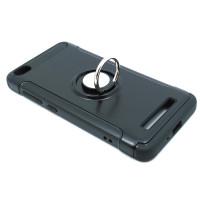 Чехол из ТПУ и пластика двухкомпонентный Xiaomi Redmi 4A  с металлическим  кольцом черный