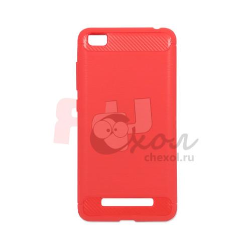 Чехол для Xiaomi Redmi 4A из ТПУ стилизованный под карбон красно-розовый
