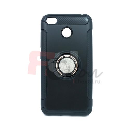 Чехол для Xiaomi Redmi 4X  из ТПУ и пластика с кольцом черный