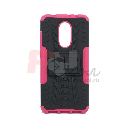 Чехол для Xiaomi Redmi 5 из ТПУ-резины и пластика противоударный розовый