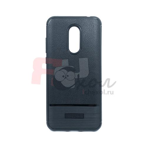 Чехол для Xiaomi Redmi 5 Plus из ТПУ-резины стилизованный под кожу с карбоновой вставкой черный