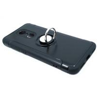 Чехол для Xiaomi Redmi 5 Plus из ТПУ-резины и пластика с металлическим кольцом черный