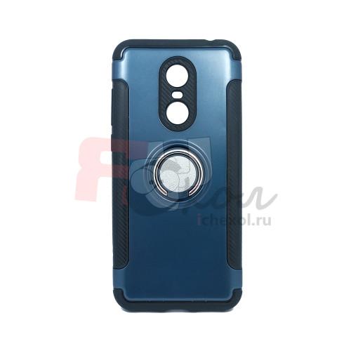 Чехол для Xiaomi Redmi 5 Plus из ТПУ-резины и пластика с металлическим кольцом navy blue