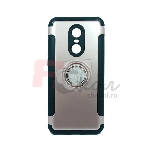 Чехол для Xiaomi Redmi 5 Plus из ТПУ-резины и пластика с металлическим кольцом розовое золото
