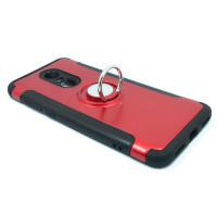 Чехол для Xiaomi Redmi 5 Plus из ТПУ-резины и пластика с металлическим кольцом красный