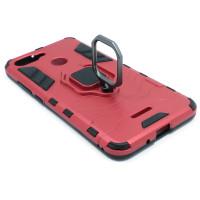 Гибридный бампер Xiaomi Redmi 6 из ТПУ и пластика с кольцом-подставкой красный