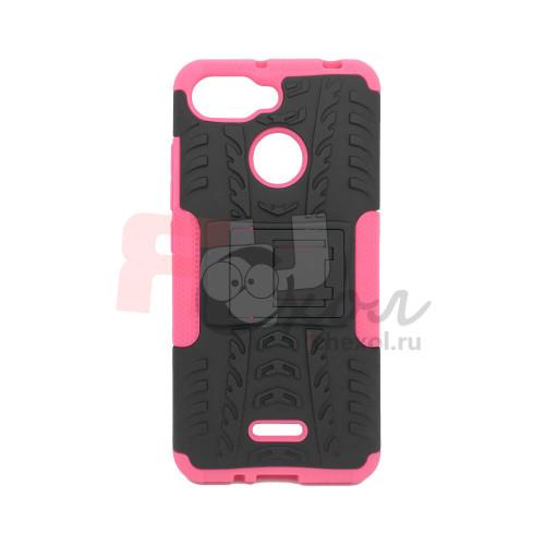 Чехол для Xiaomi Redmi 6 из ТПУ-резины и пластика противоударный розовый