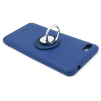 Чехол-бампер для Xiaomi Redmi 6A из ТПУ-резины с  кольцом синий