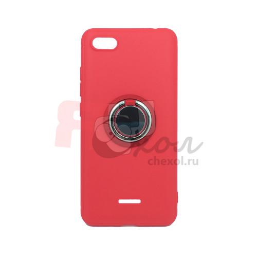 Чехол-бампер для Xiaomi Redmi 6A из ТПУ-резины с  кольцом красный