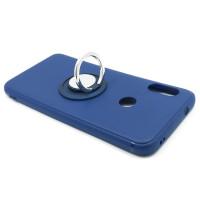Чехол-бампер для Xiaomi Redmi 6 Pro / Mi A2 lite  из ТПУ-резины с  кольцом синий