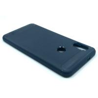 """Чехол для Xiaomi Redmi Note 5 из ТПУ-резины """"под карбон"""" navy"""