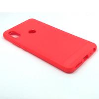"""Чехол для Xiaomi Redmi Note 5 из ТПУ-резины """"под карбон"""" красный"""