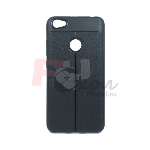 """Чехол для Xiaomi Redmi Note 5A Prime из ТПУ с текстурой """"под кожу"""" черный"""