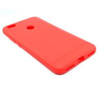 """Чехол для Xiaomi Redmi Note 5A Prime из ТПУ-резины """"под карбон"""" красно-розовый"""