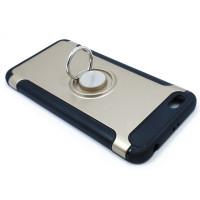 Чехол для Xiaomi Redmi Note 5A Standart  из ТПУ и пластика с металлическим кольцом и металлической пластиной золото