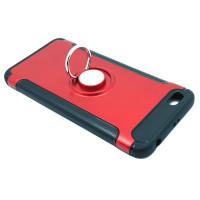 Чехол для Xiaomi Redmi Note 5A Standart  из ТПУ и пластика с металлическим кольцом и металлической пластиной красный