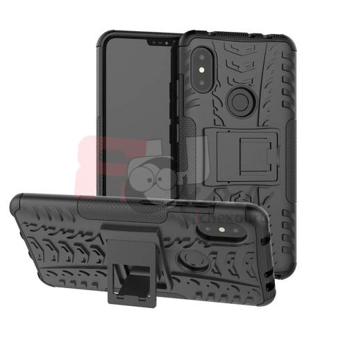 Противоударный двухкомпонентный чехол-бампер для Xiaomi Redmi Note 6 pro  (6,25'') из ТПУ-резины и пластика черный