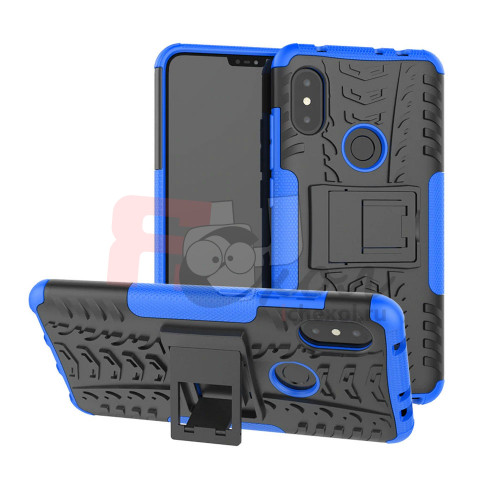 Противоударный двухкомпонентный чехол-бампер для Xiaomi Redmi Note 6 pro  (6,25'') из ТПУ-резины и пластика синий