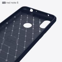 "Чехол-бампер для Xiaomi Redmi Note 6 pro  (6,25'') из ТПУ-резины ""карбон"" navy"